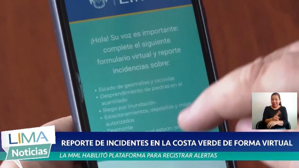 AHORA SE PUEDE REPORTAR INCIDENTES EN LA COSTA VERDE DE FORMA VIRTUAL